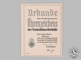 Germany, TeNo. An Award Certificate for a Technical Emergency Help (TeNo) Honour Badge to Paul Erdmann
