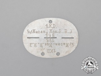 A Second War German Kuban-Cossack Cavalry Regiment Identification Tag