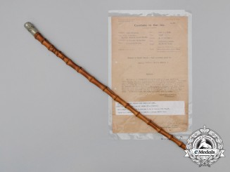 First War Officer's Swagger Stick with Combats in the Air Report, Attributed to Lieutenant Herbert Howard Snowden Fowler, Royal Air Force