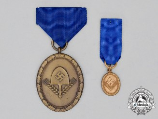 A Third Reich Period German RAD Long Service Award with Miniature