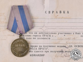 Russia, Soviet Union. Medal for the Liberation of Prague 1945 with Award Document
