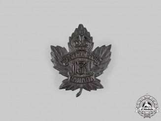 "Canada, CEF. A 131st Infantry Battalion ""Westminster Battalion"" Cap Badge, by O.B.Allan, c.1915"