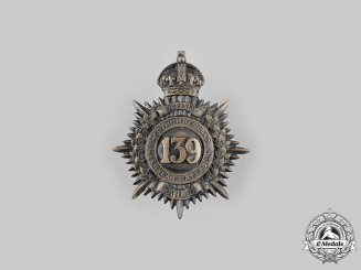 "Canada, CEF. A 139th Infantry Battalion ""Northumberland Battalion"" Cap Badge, c.1915"