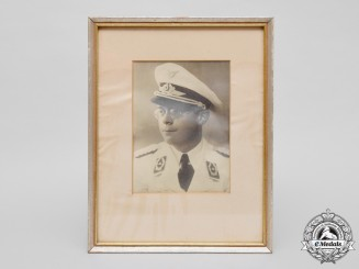 Germany. A Framed Wartime Portrait of a Luftwaffe Major in White Summer Tunic