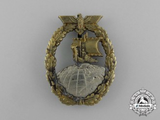 An Early War Quality Kriegsmarine Auxiliary Cruiser Badge