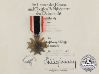 An  Award Document Group & War Merit Cross to Flak Oberleutnant Eberhard Kunze