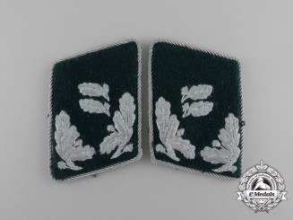 A Set of German Revierförster Rank Collar Tabs with Picture Postcard