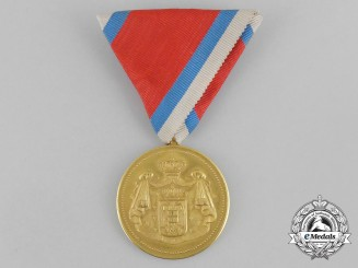Serbia, Kingdom. A Medal for Civil Merit, 1st Class, Gold Grade, by Arthus Bertrand