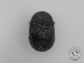 A 1937 NSDAP Hesselberg Day of the Franks Badge by Balmberger of Nürnberg