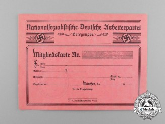 Germany. An Unissued NSDAP Local Group Membership Card