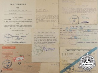 """Germany, Heer. A Fine Document Set to Otto Harthaus of the 116th Panzer """"Greyhound"""" Division"""