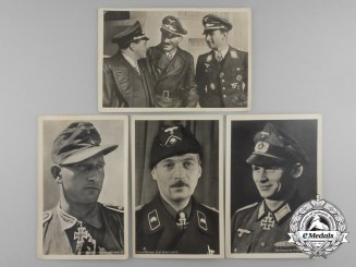 A Lot of 4 Period Knight's Cross Recipient Postcards: Bredemeyer, Kutscher, Strachwitz, Udet/Galland/Mölders