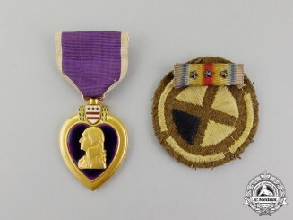 United States. A Purple Heart, to Private James G. Warren, 137th Infantry Regiment, 35th Division