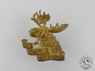 Canada. A First War 4th Mounted Rifle Battalion Cap Badge, Second Version