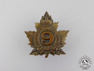 Canada. A First War 9th Mounted Rifles Cap Badge