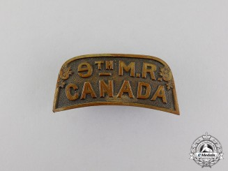 Canada. A First War 9th Mounted Rifles Shoulder Title