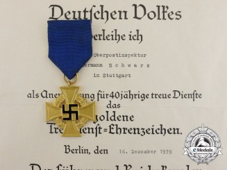 A Faithful Service Medal in Gold & Award Document for Hermann Schwarz