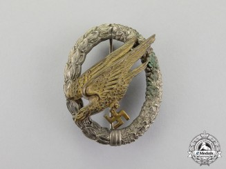 Germany. An Early Luftwaffe Fallschirmjäger Badge by JMME & SOHN