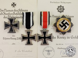 Germany. The DKiG & Awards with Documents to Artillery Battalion Hauptmann