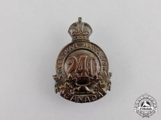 "Canada. A CEF 240th Infantry Battalion ""Lanark and Renfrew Battalion"" Cap Badge, c.1916"