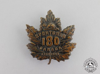 "Canada. A CEF 180th Infantry Battalion ""Sportsmen Battalion"" Cap Badge, c.1916"