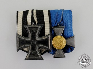 Germany. An EK 1914 & Prussian Militia 20-Year Long Service Medal Bar