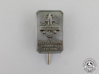"""Germany. A 1934 """"Blood and Soil"""" Schweinfurt District Farmer's Day Badge"""