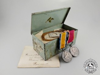 United Kingdom. A Medal Pair & Love Letters to India Campaign Veteran; Found in Wall