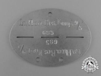 A Scarce Luftwaffe Luftnachrichten Flugmeldereservekompanie 9/3 Identification Tag