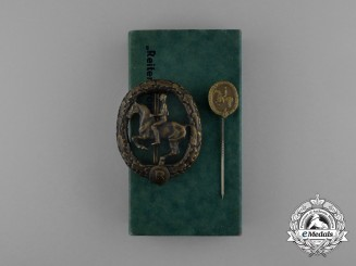 A Mint Cased Bronze Grade German Equestrian Badge and Stick Stick Pin by L. Chr. Lauer
