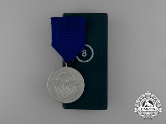 A Mint Second War German Police 8-Year Long Service Medal in its Original Case of Issue
