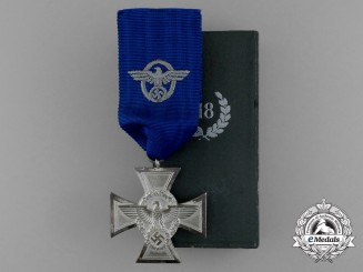 A Mint Second War German Police 18-Year Long Service Medal in its Original Case of Issue