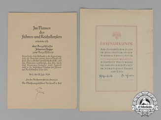 Two Large Promotional and Honourary Documents Belonging to Johannes Hoppe