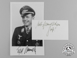 A Post War Signed Photograph of Luftwaffe Ace and Knight's Cross Recipient Karl Rammelt
