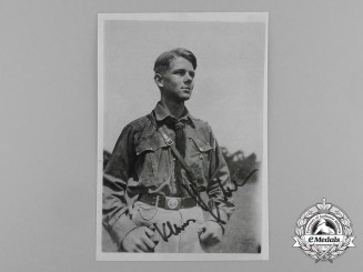 A Post War Signed Photograph of Luftwaffe Ace and Knight's Cross Recipient Klaus Häberlen