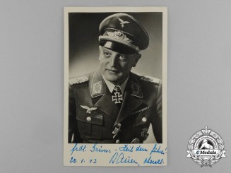 A Wartime Picture Postcard of Signed by Knight's Cross Recipient Major Oskar Bauer