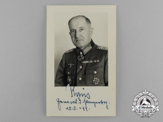A Wartime Picture Postcard of Signed by Erhard Raus; KC & Oakleaves Recipient