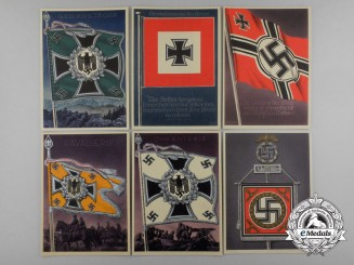 A Lot of Six Victorious Flags and Standards of the Wehrmacht Postcards
