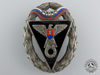 A Second War Slovakian Army Racing Team OAP Badge; Second Class