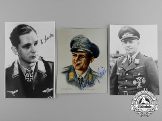 Germany, Third Reich. A Lot of Three Post-War Knight's Cross Recipient Signed Photographs