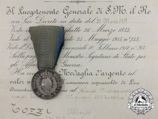 An Italian Al Valore Militare Medal with its Award Document to Alberto Gozzi