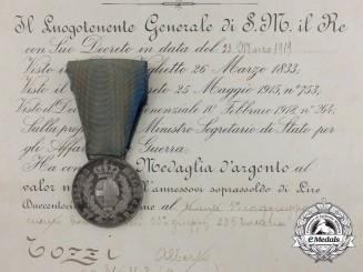 Italy, Kingdom. An Al Valore Militare Medal with its Award Document to Alberto Gozzi