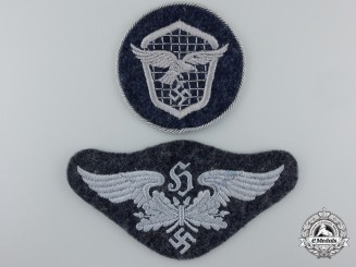 Two Cloth Luftwaffe Insiginia; Flak & Driver