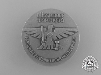 Germany, NSDAP. A 1936 Düsseldorf Blessing of the Flag Ceremony Badge, by Paulmann & Crone