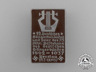 A 1937 12th Breslau German Association of Singers Badge by Paulmann & Crone
