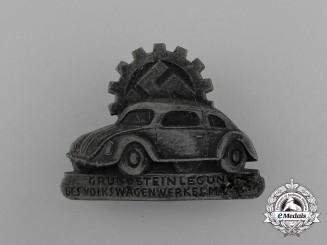 A 1938 Fallersleben Volkswagen Factory Cornerstone Laying Ceremony Badge