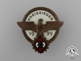 A HJ 1939 Victor's Badge of the National Trade Competition H. Aurich of Dresden