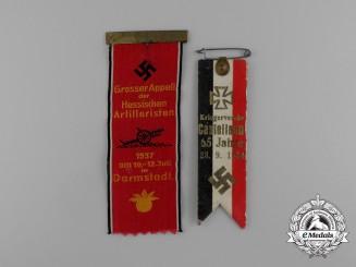 A Grouping of Two German Interwar Veteran's Organization Ribbon Badges