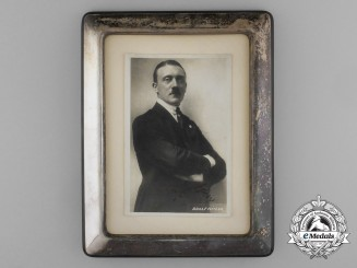 A Silver Framed Early Picture Postcard Autographed by A.H.