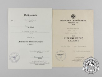 A Fine Grouping of Award Documents of Waffen-SS Corporal Karl Erl of the 2./SS-Geb. Jäger. Rgt. 28